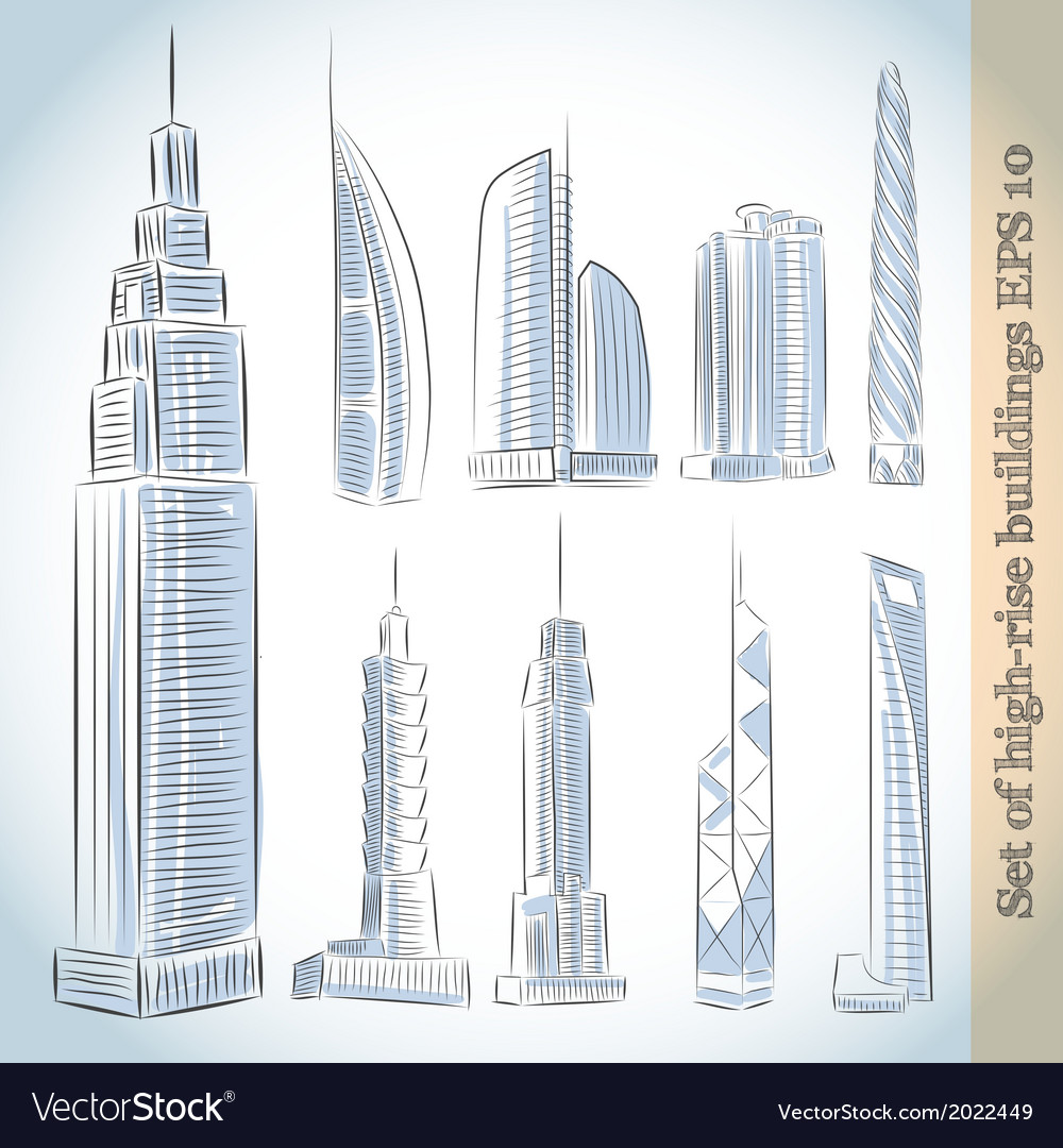 Building icons set of modern skyscrapers vector   Price: 1 Credit (USD $1)