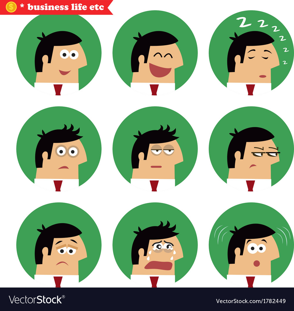 Business facial emotions vector | Price: 1 Credit (USD $1)