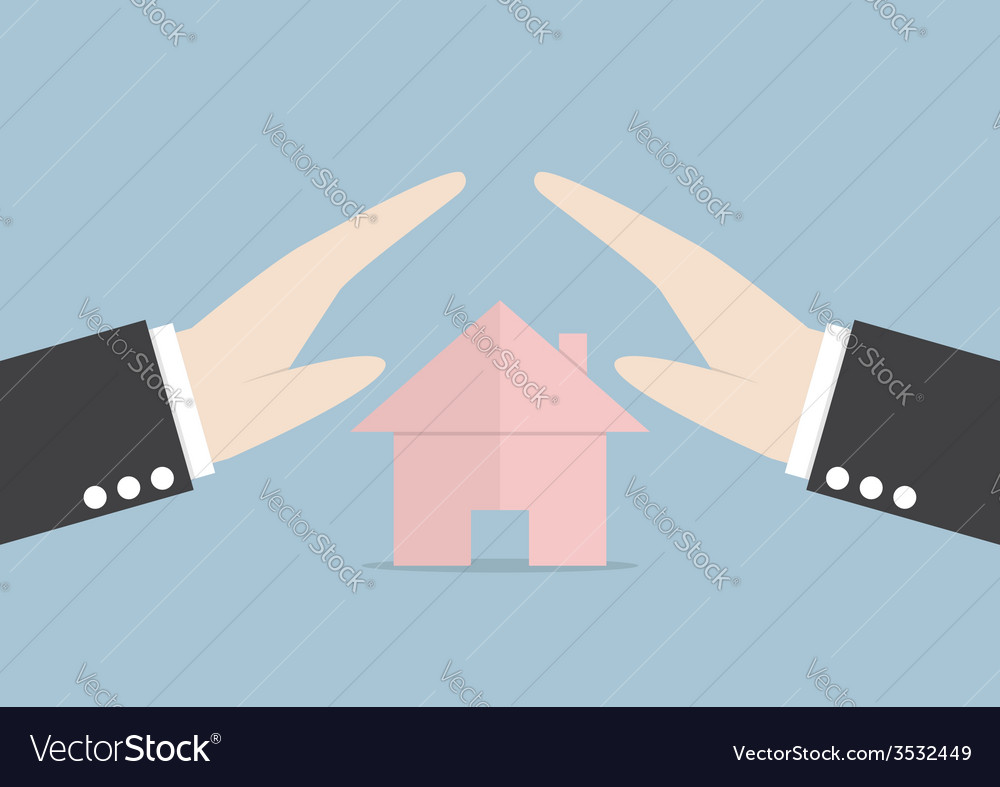 Businessman protect house by hands vector | Price: 1 Credit (USD $1)