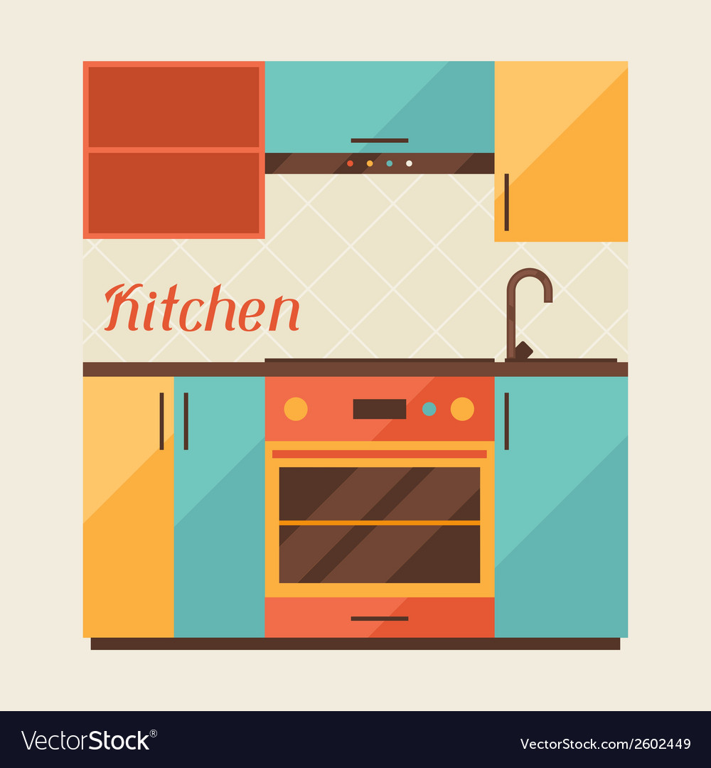 Card with kitchen interior in retro style vector | Price: 1 Credit (USD $1)