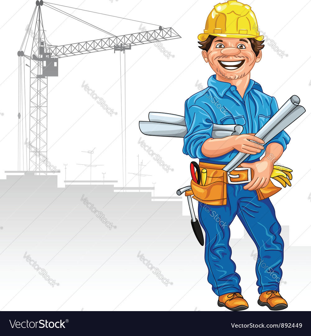 Cheerful engineer builder vector | Price: 3 Credit (USD $3)