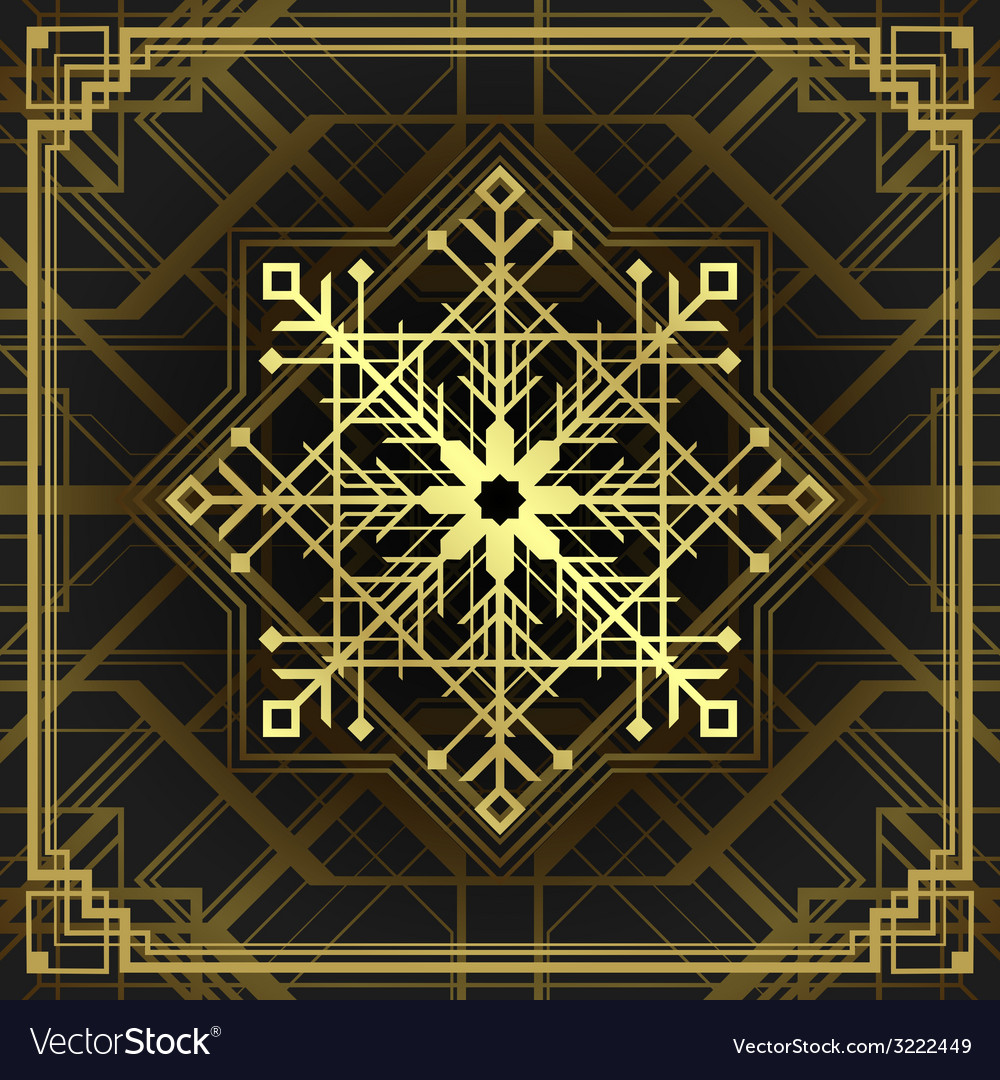 Christmas snowflake art deco style vector | Price: 1 Credit (USD $1)