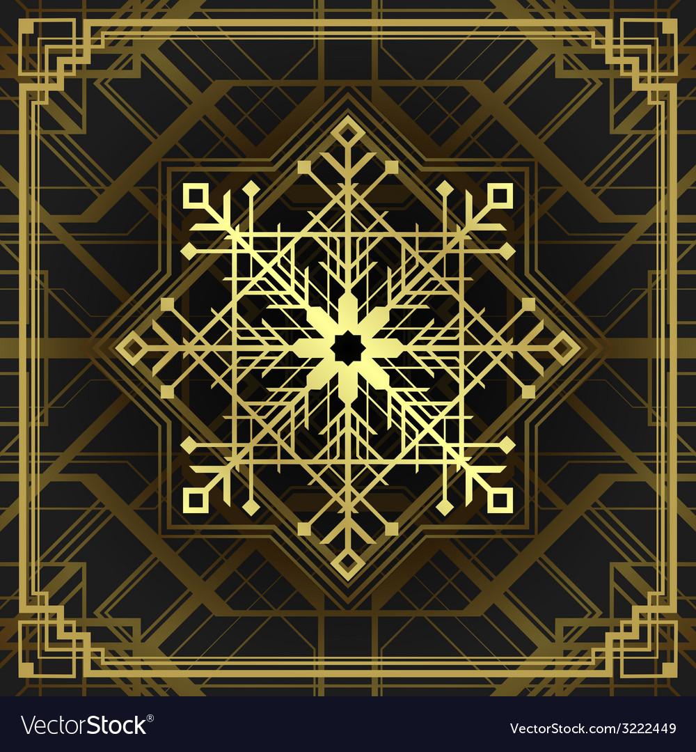 Christmas snowflake art deco style vector | Price: 1 Credit (USD $1)