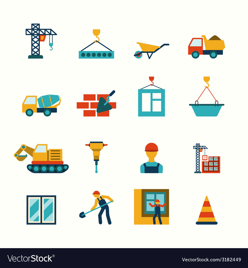 Construction flat icons set vector   Price: 1 Credit (USD $1)