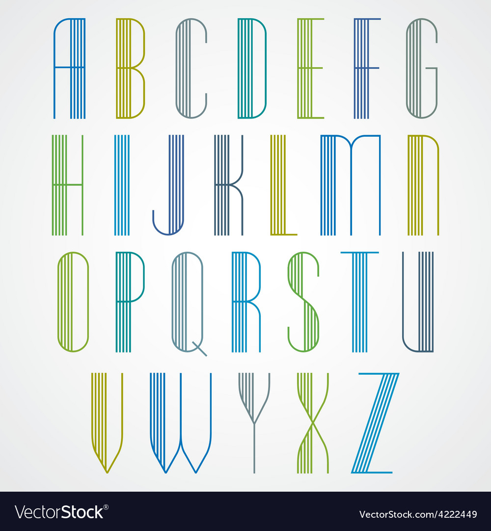 Elegant tall striped retro style artistic font vector   Price: 1 Credit (USD $1)