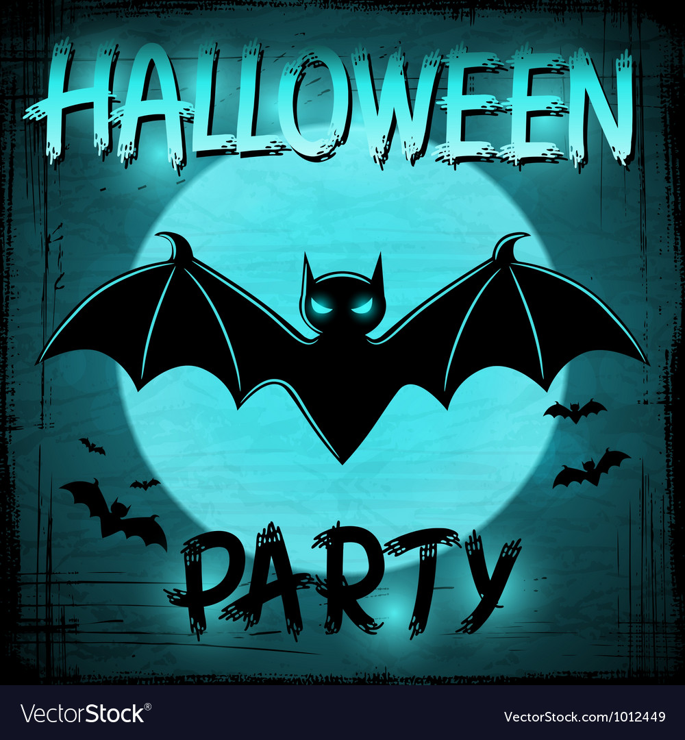 Eps 10 halloween background with moon and bats vector | Price: 1 Credit (USD $1)