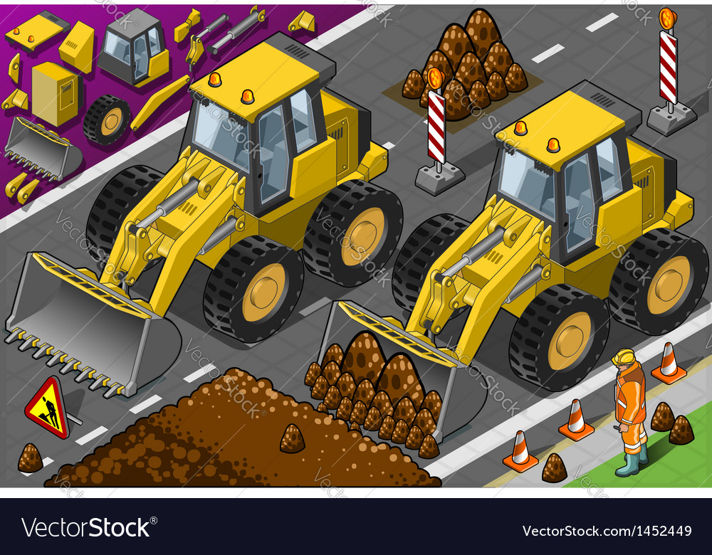 Isometric yellow bulldozerin front view vector | Price: 1 Credit (USD $1)