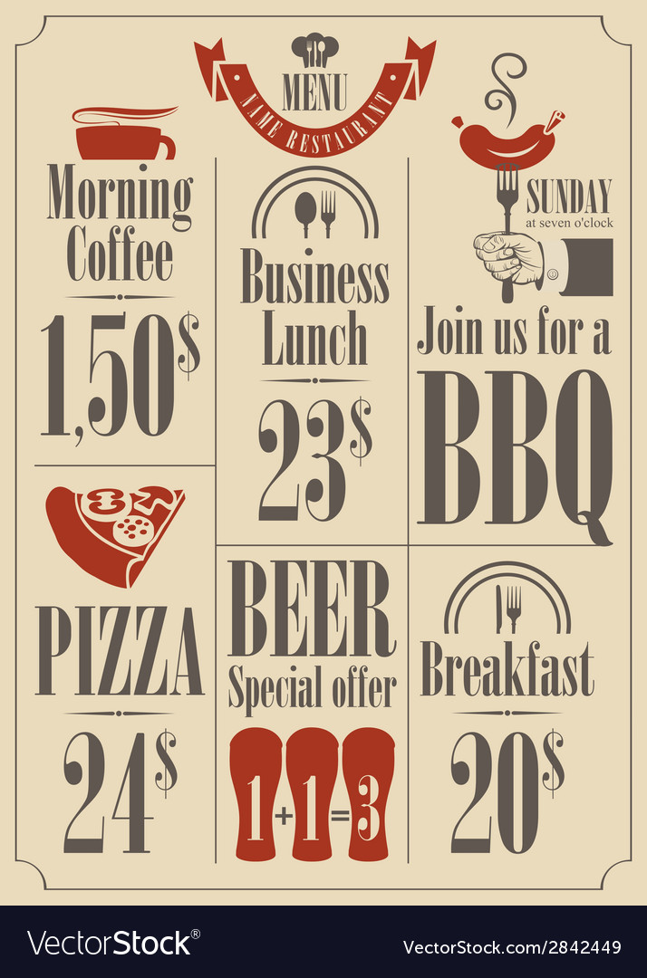 Menu set vector | Price: 1 Credit (USD $1)
