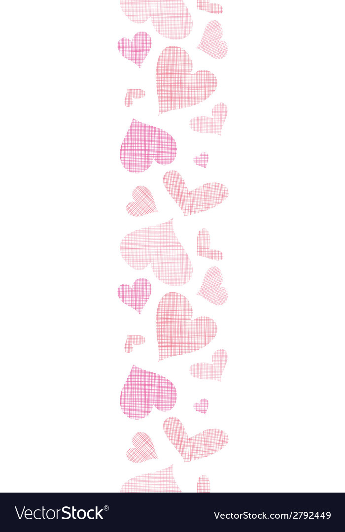 Pink textile hearts vertical border seamless vector   Price: 1 Credit (USD $1)