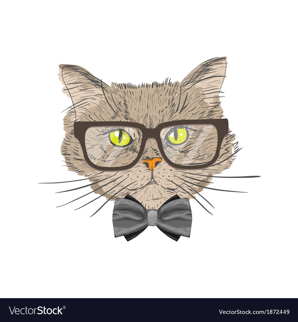 Portrait of hipster cat vector | Price: 1 Credit (USD $1)
