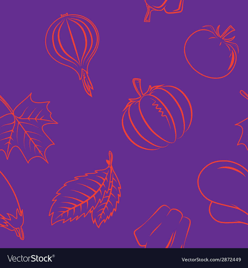 Seamless pattern with autumn vegetables and leaves vector | Price: 1 Credit (USD $1)