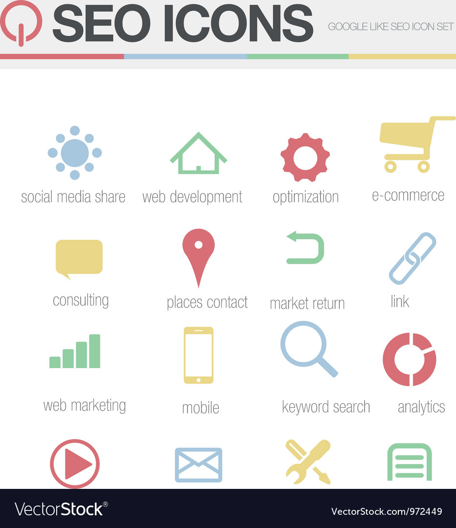 Seo google like icons set volume 1 vector | Price: 1 Credit (USD $1)