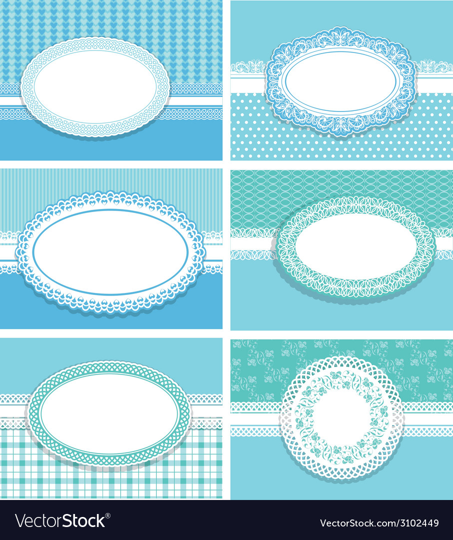 Set cards with oval frames blue 380 vector | Price: 1 Credit (USD $1)