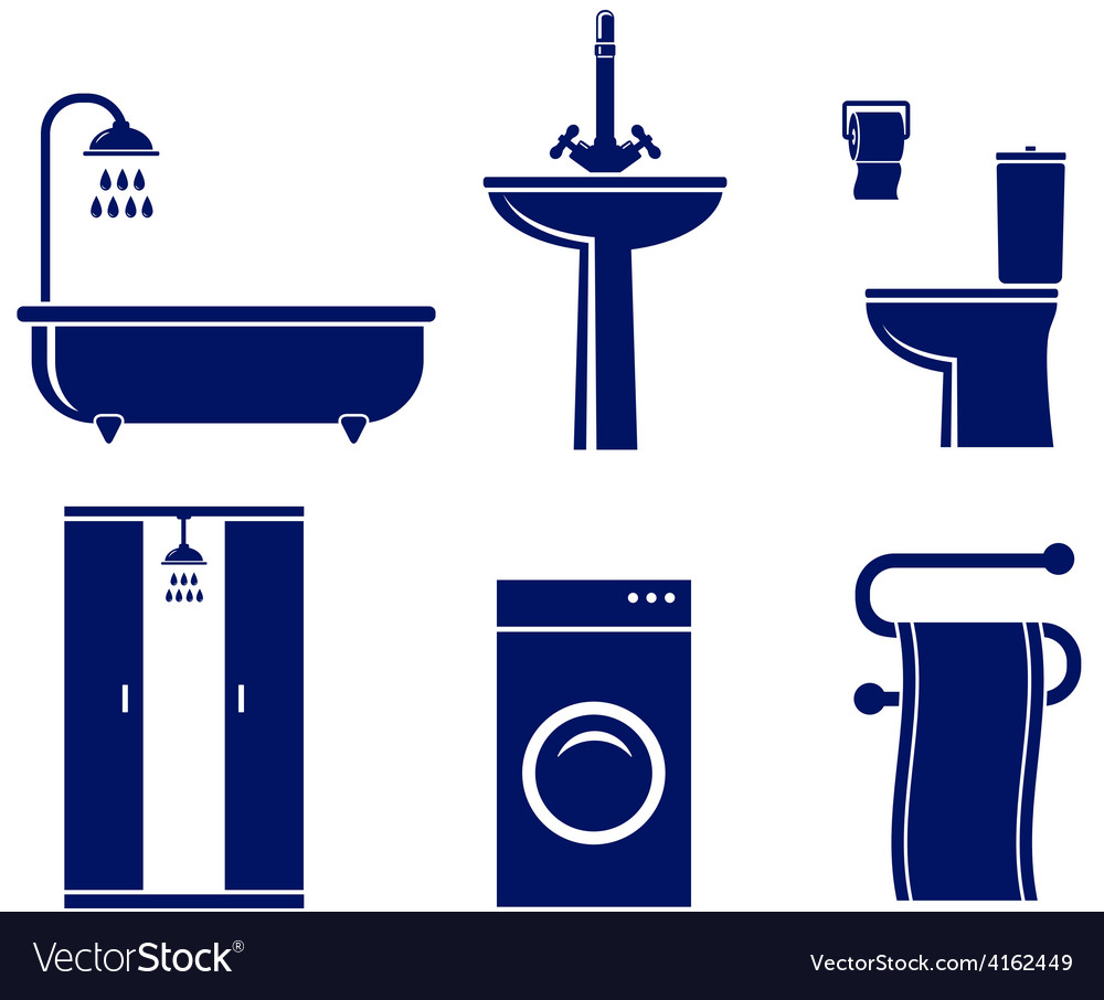 Set of isolated bath objects vector | Price: 1 Credit (USD $1)