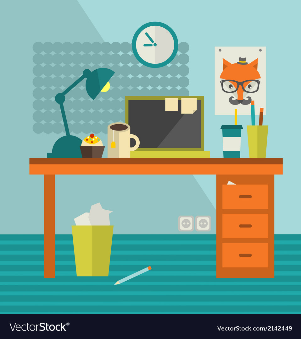 Workplace of hipster with fox poster on the wall vector | Price: 1 Credit (USD $1)