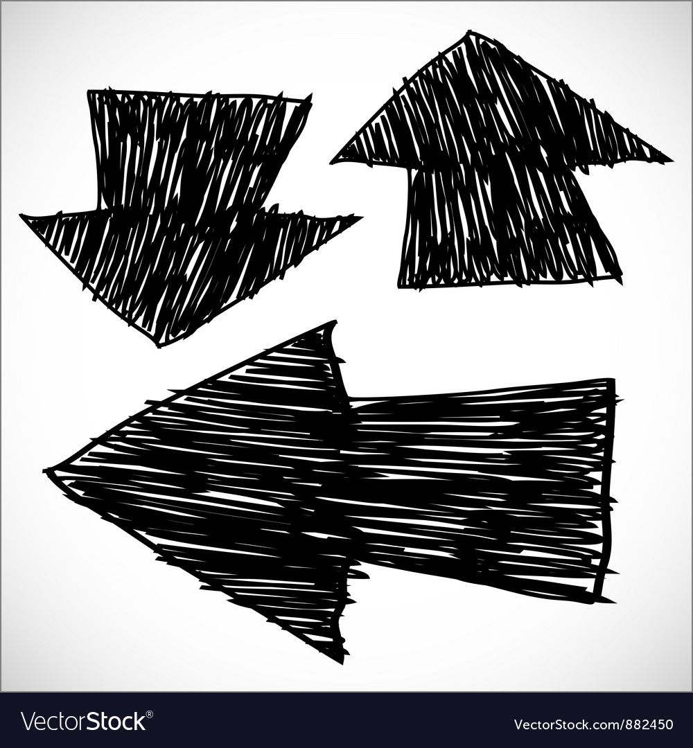 3 hand drawn arrows vector | Price: 1 Credit (USD $1)