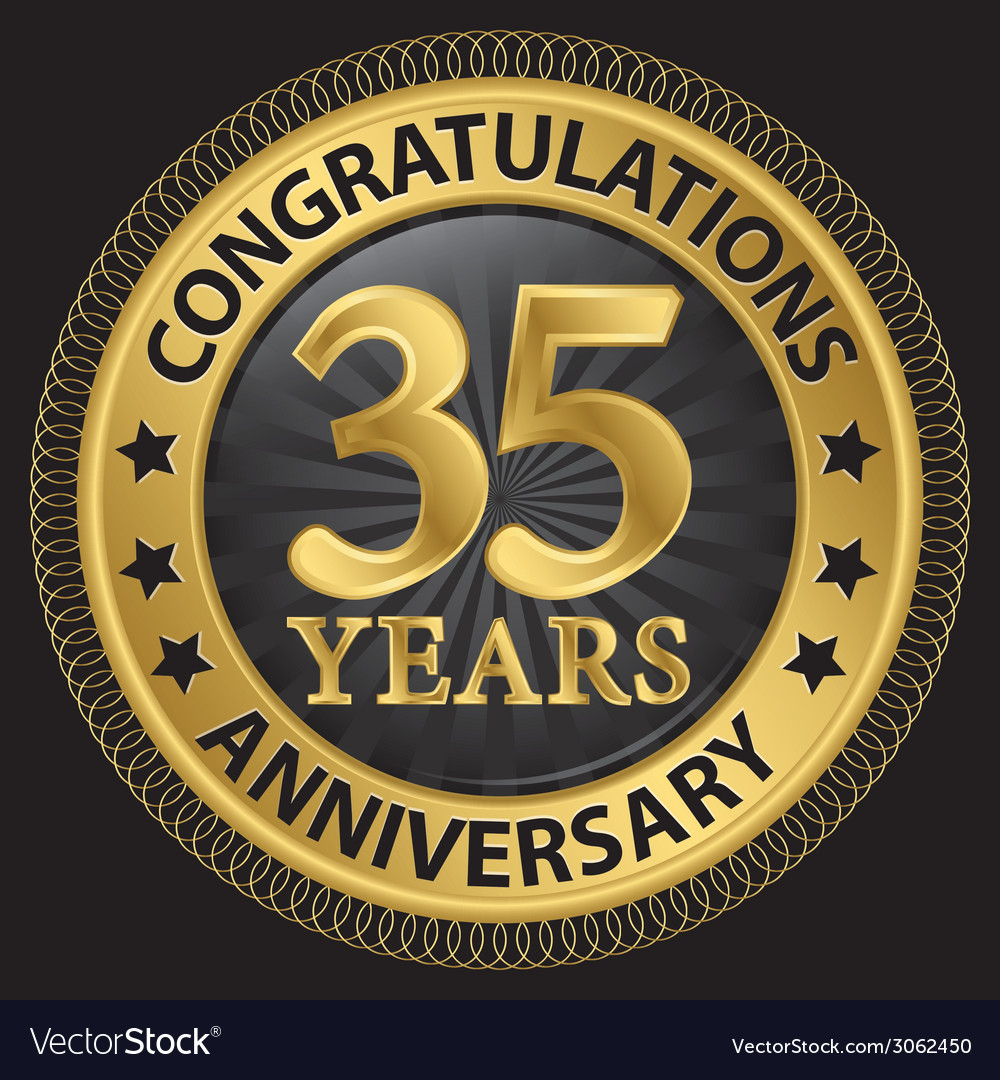 35 years anniversary congratulations gold label vector | Price: 1 Credit (USD $1)