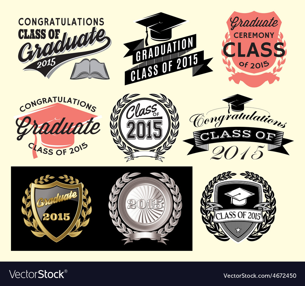 Graduation sector set for class of 2015 vector | Price: 1 Credit (USD $1)