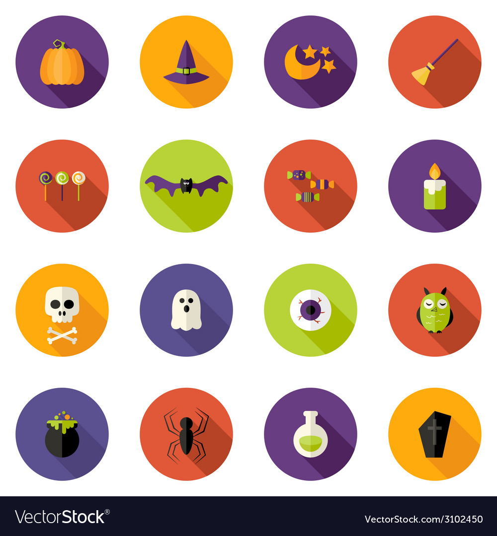 Halloween colorful flat circle icons set vector | Price: 1 Credit (USD $1)