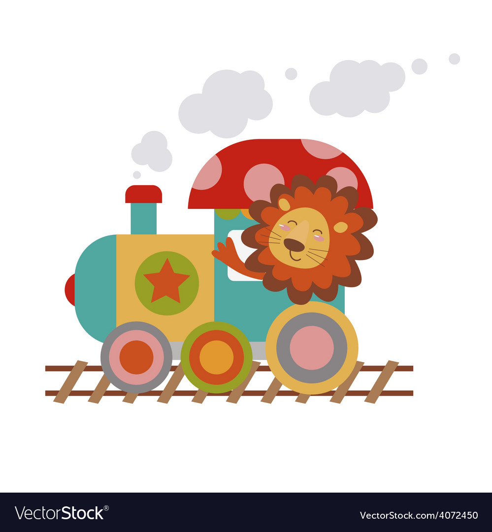 Lion driver of the engine cartoon vector | Price: 1 Credit (USD $1)
