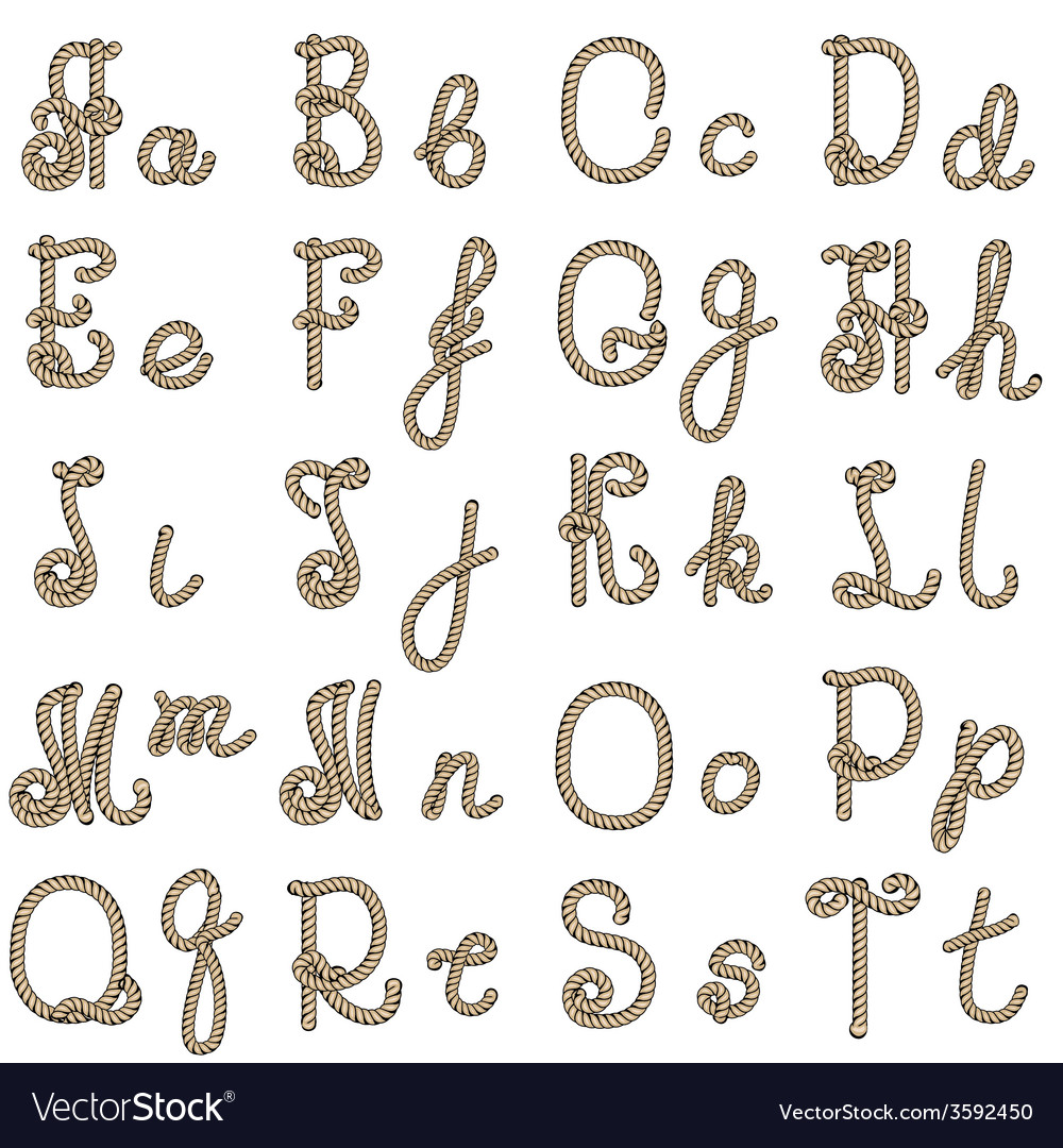 Old rope alphabet from a to t vector | Price: 1 Credit (USD $1)