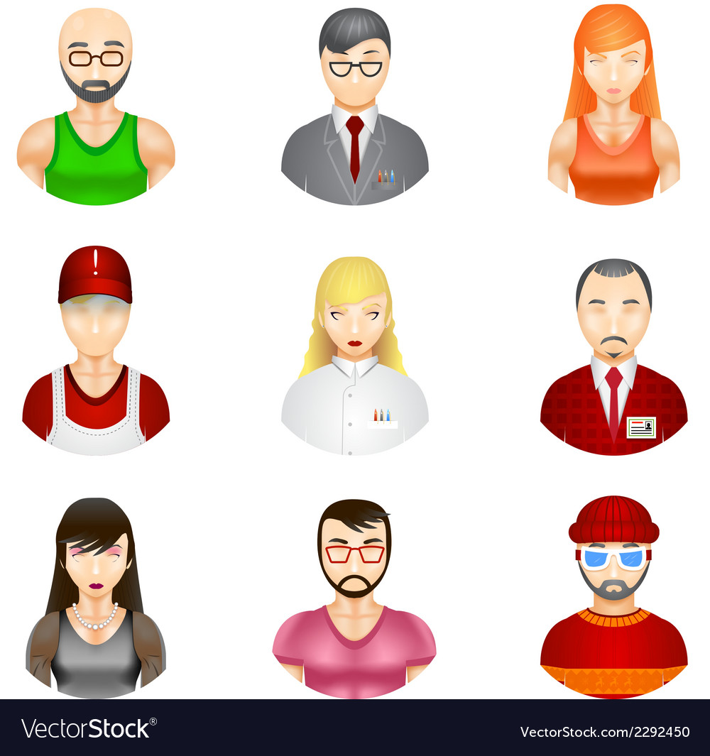People avatars vector | Price: 1 Credit (USD $1)