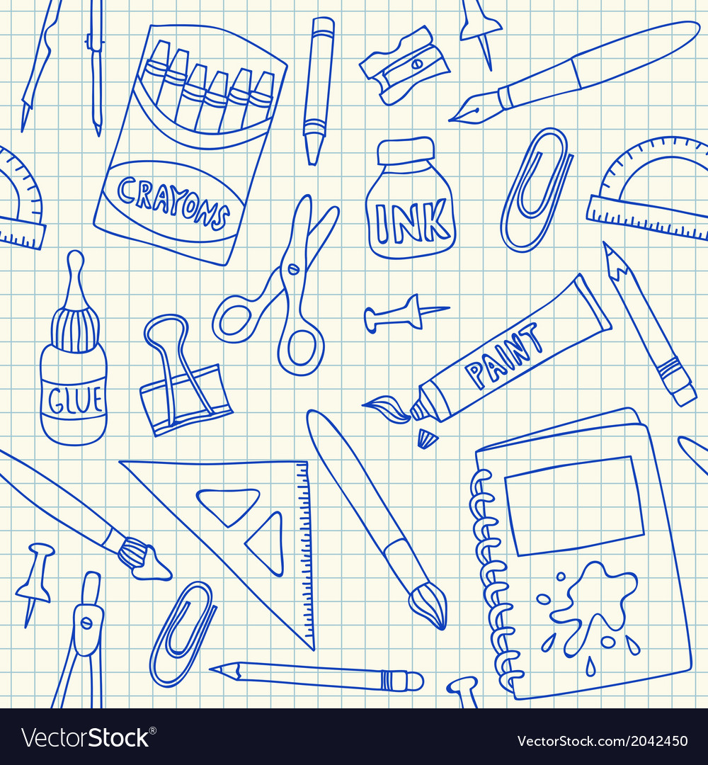 School supplies doodles on school squared paper vector | Price: 1 Credit (USD $1)