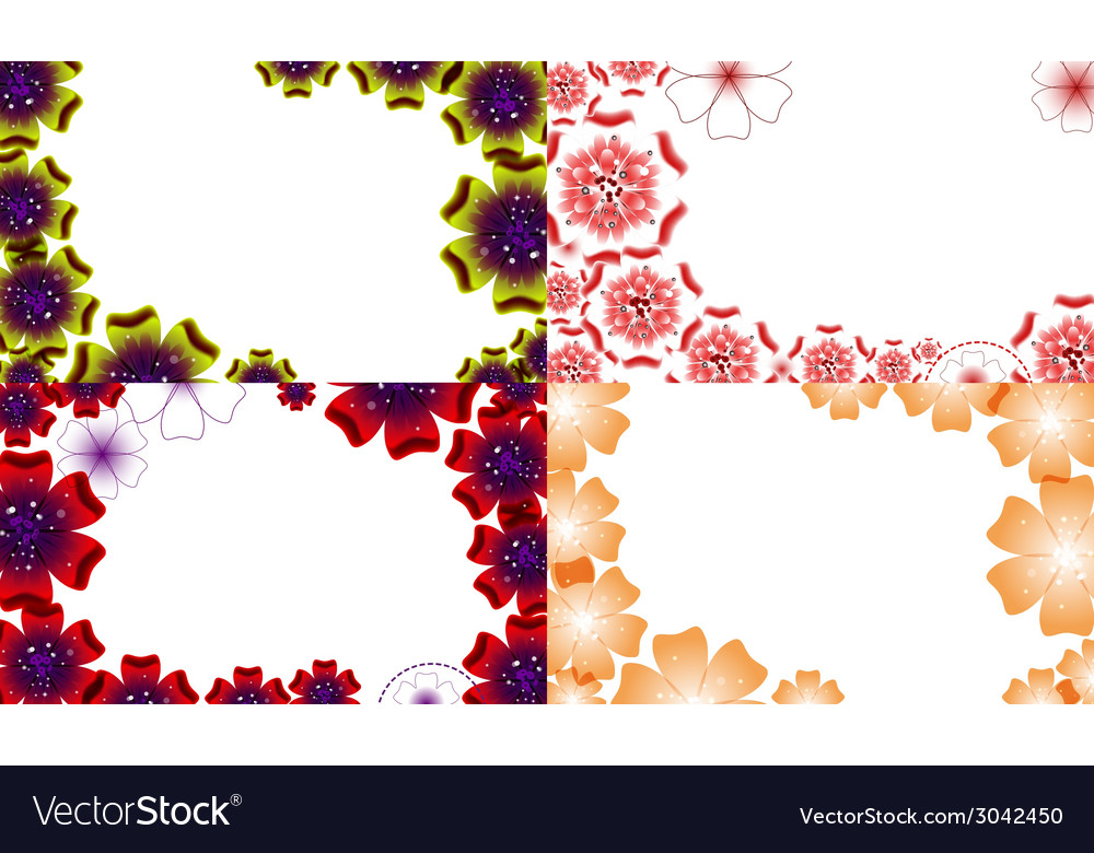 Set of background with flowers isolated on white vector | Price: 1 Credit (USD $1)