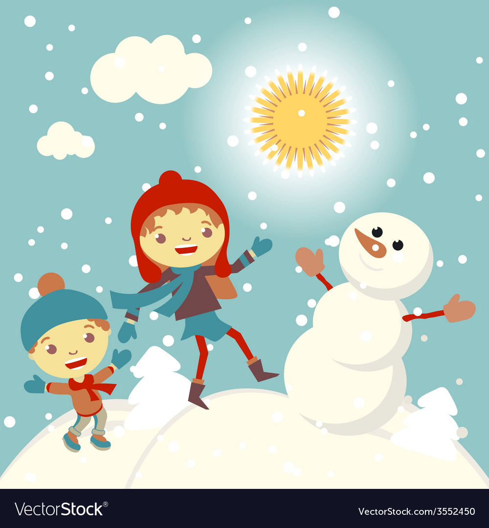 Set of characters funny kids winter snow 2015 vector | Price: 1 Credit (USD $1)