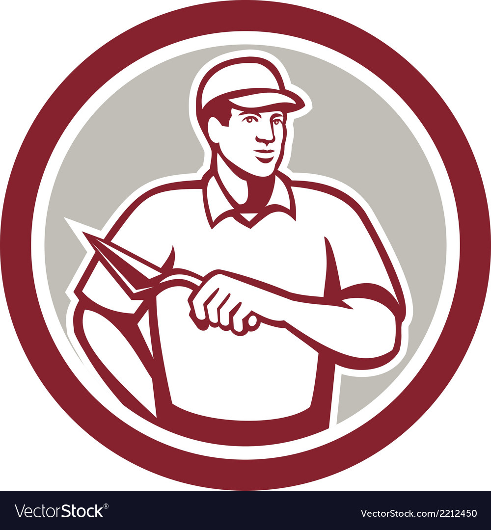 Tiler plasterer mason masonry worker circle vector | Price: 1 Credit (USD $1)