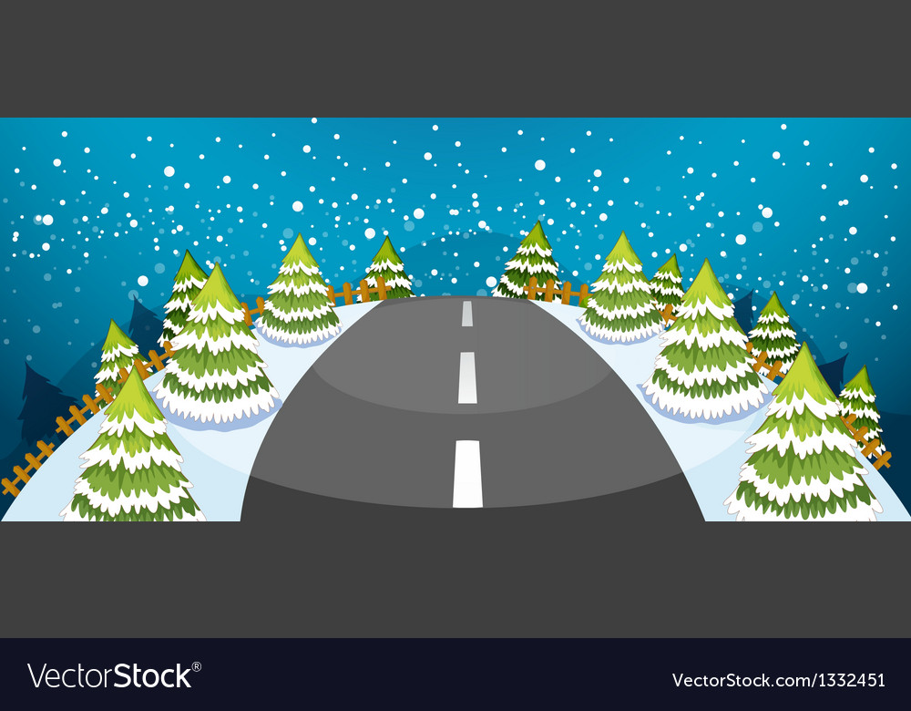 A hill covered with snow with a narrow road vector | Price: 1 Credit (USD $1)