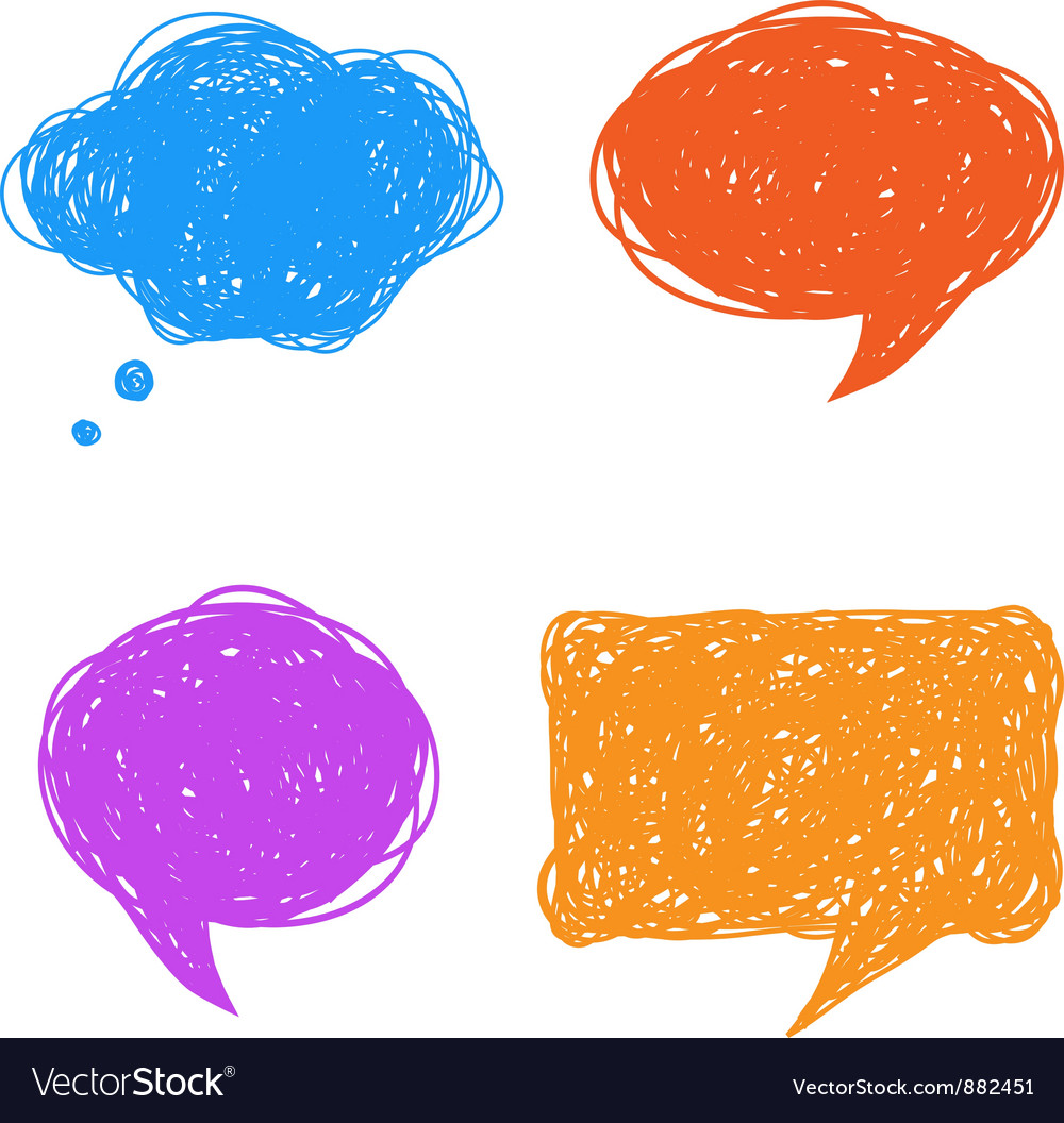 Colorful hand drawn speech and thought bubbles vector | Price: 1 Credit (USD $1)