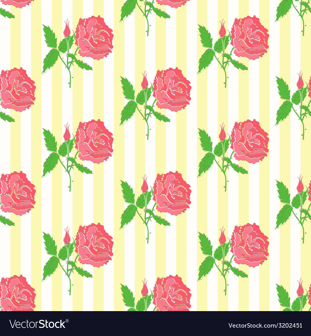 Floral seamless pattern background of roses vector | Price: 1 Credit (USD $1)