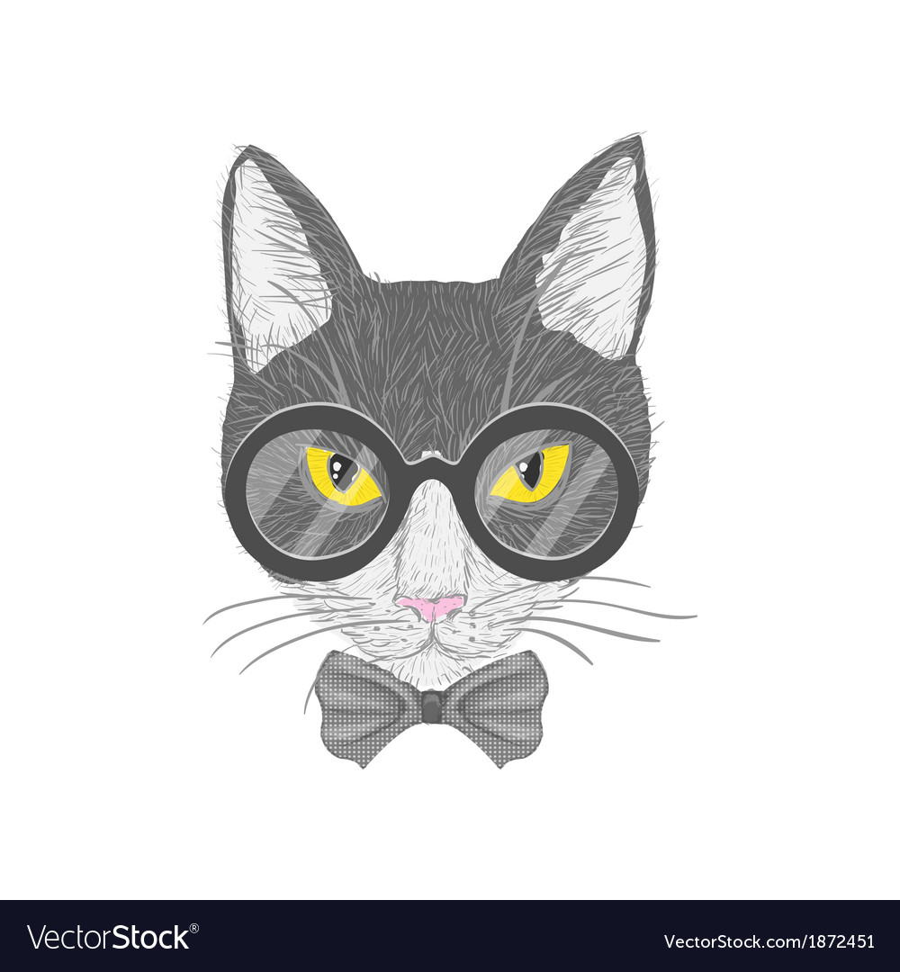 Hipster cat with yellow eyes vector   Price: 1 Credit (USD $1)