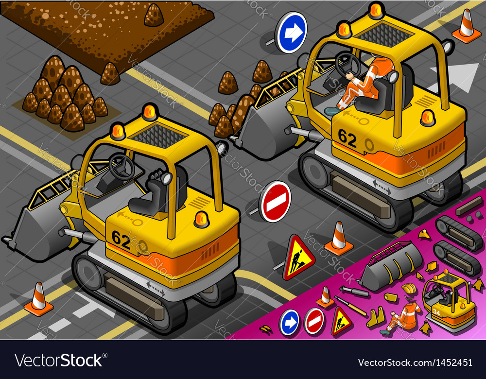 Isometric mini excavator in rear view vector | Price: 1 Credit (USD $1)