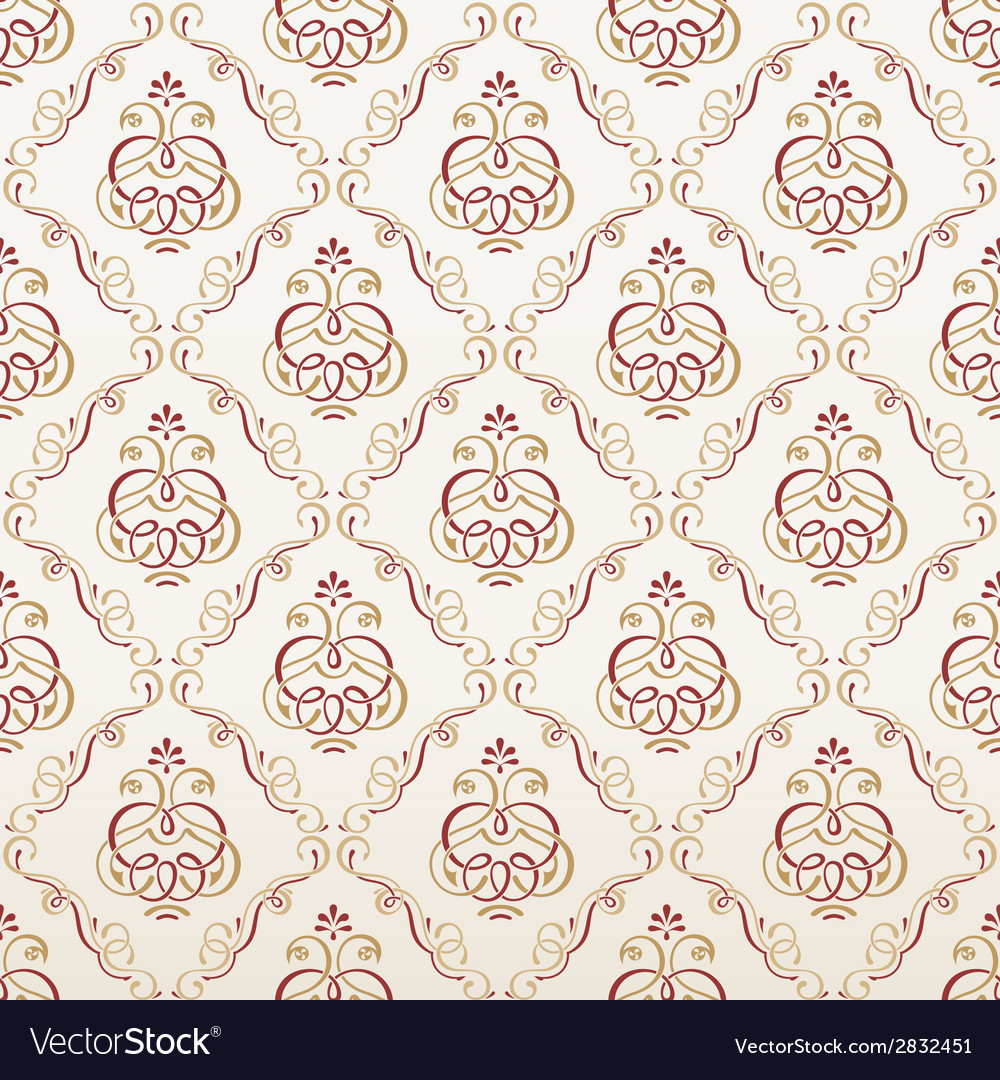 Seamless florals wallpaper vintage background vector | Price: 1 Credit (USD $1)