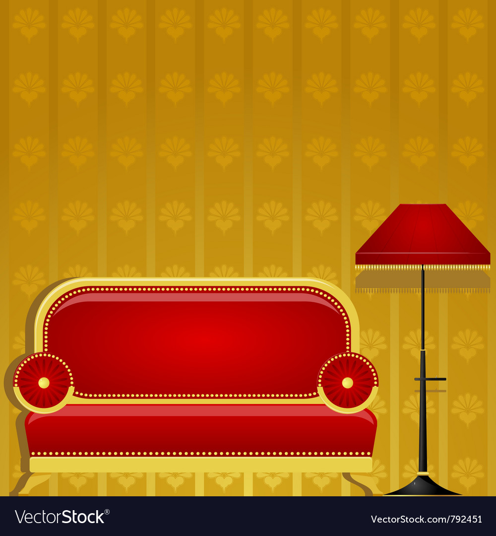 Sofa and a floor lamp vector | Price: 1 Credit (USD $1)
