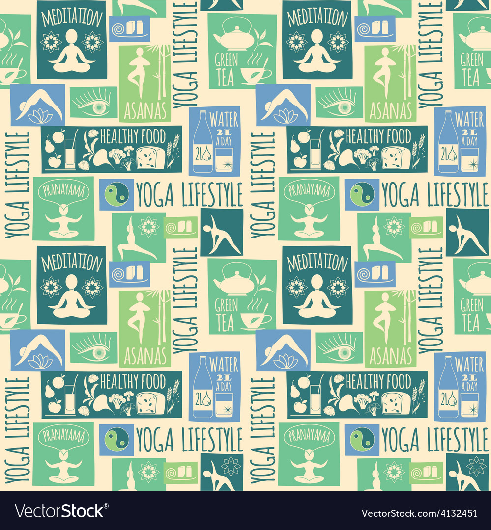 Yoga lifestyleseamless pattern vector | Price: 1 Credit (USD $1)