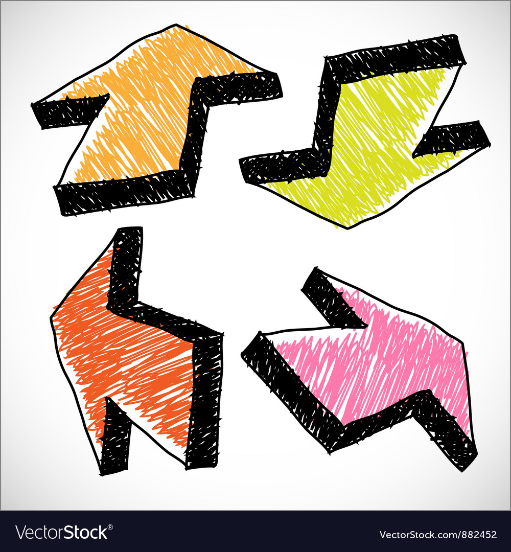 4 hand drawn color arrows vector | Price: 1 Credit (USD $1)
