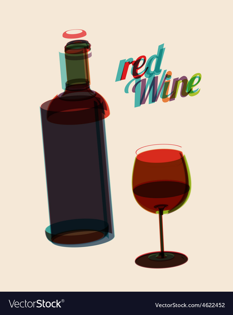Abstarct vintage poster bottle of red wine vector | Price: 1 Credit (USD $1)
