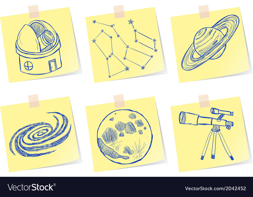 Astronomy and observatory sketches on paper notes vector | Price: 1 Credit (USD $1)