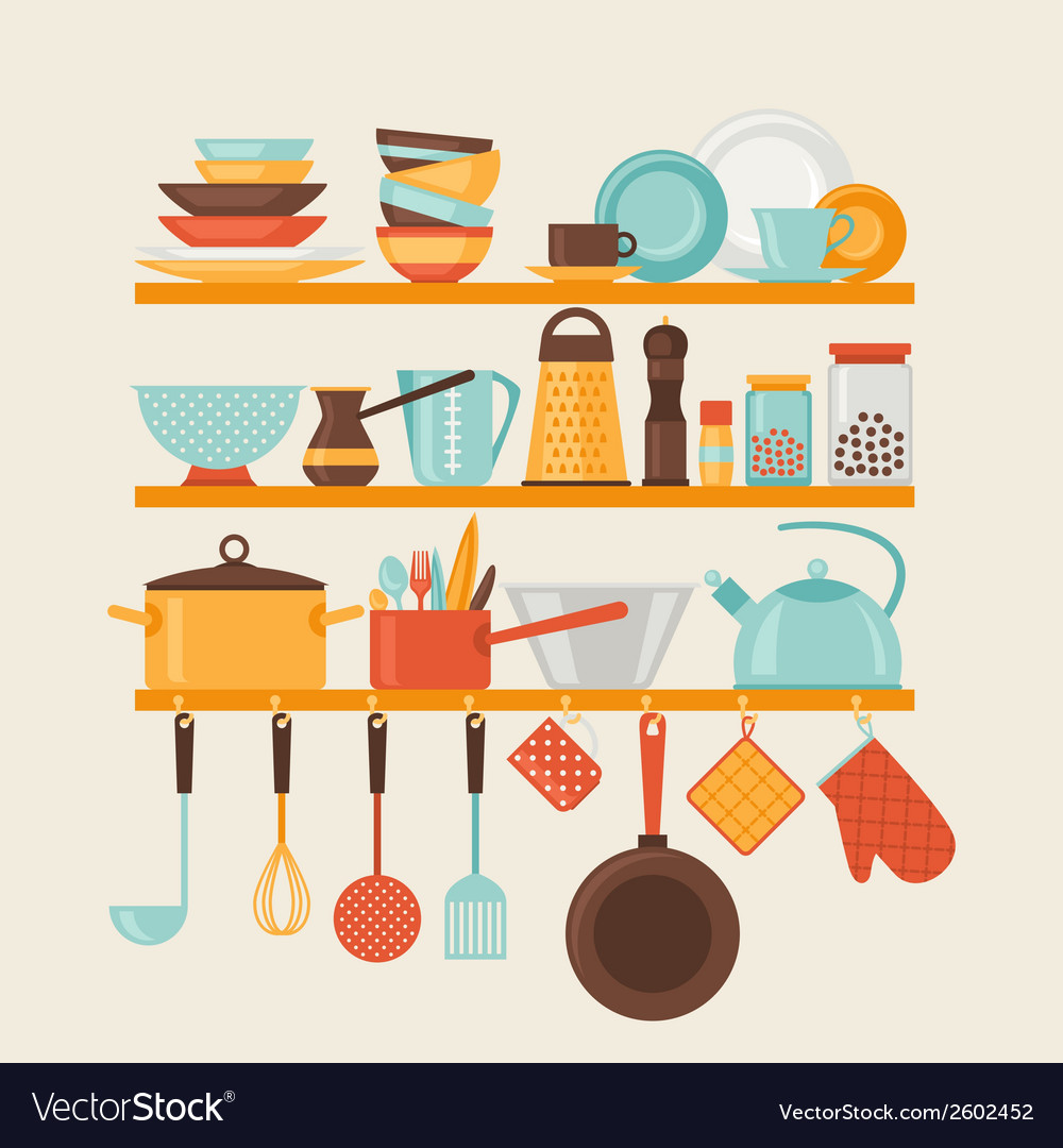 Card with kitchen shelves and cooking utensils in vector | Price: 1 Credit (USD $1)