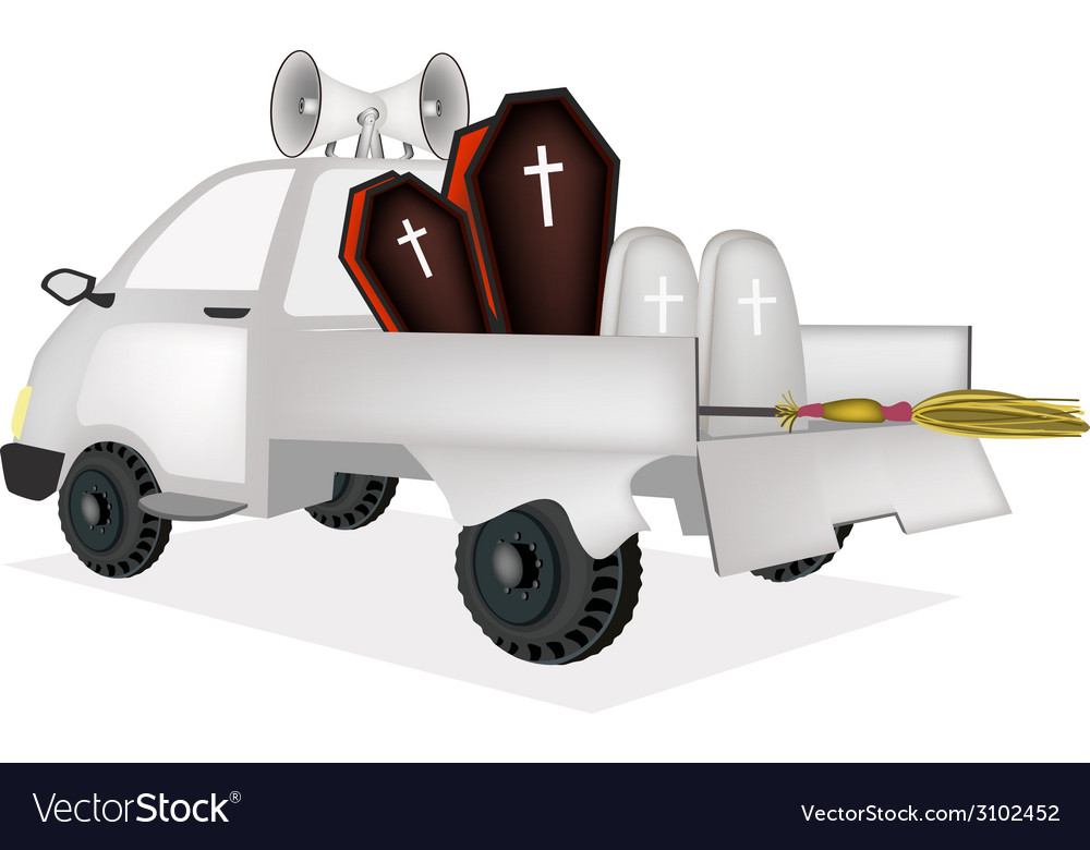 Coffin and gravestone on a pickup truck vector | Price: 1 Credit (USD $1)