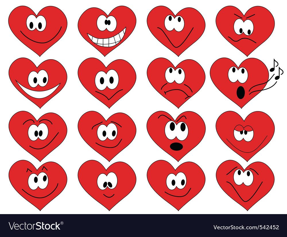 Heart shape faces vector | Price: 1 Credit (USD $1)