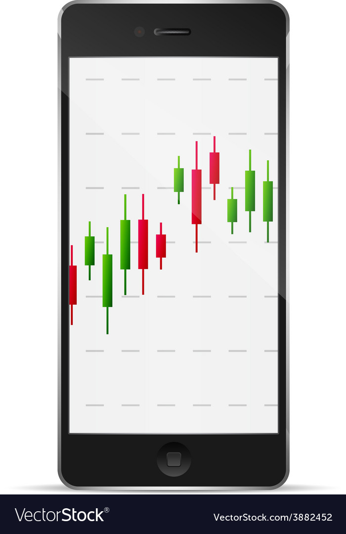 Phone with forex chart on desktop vector | Price: 1 Credit (USD $1)