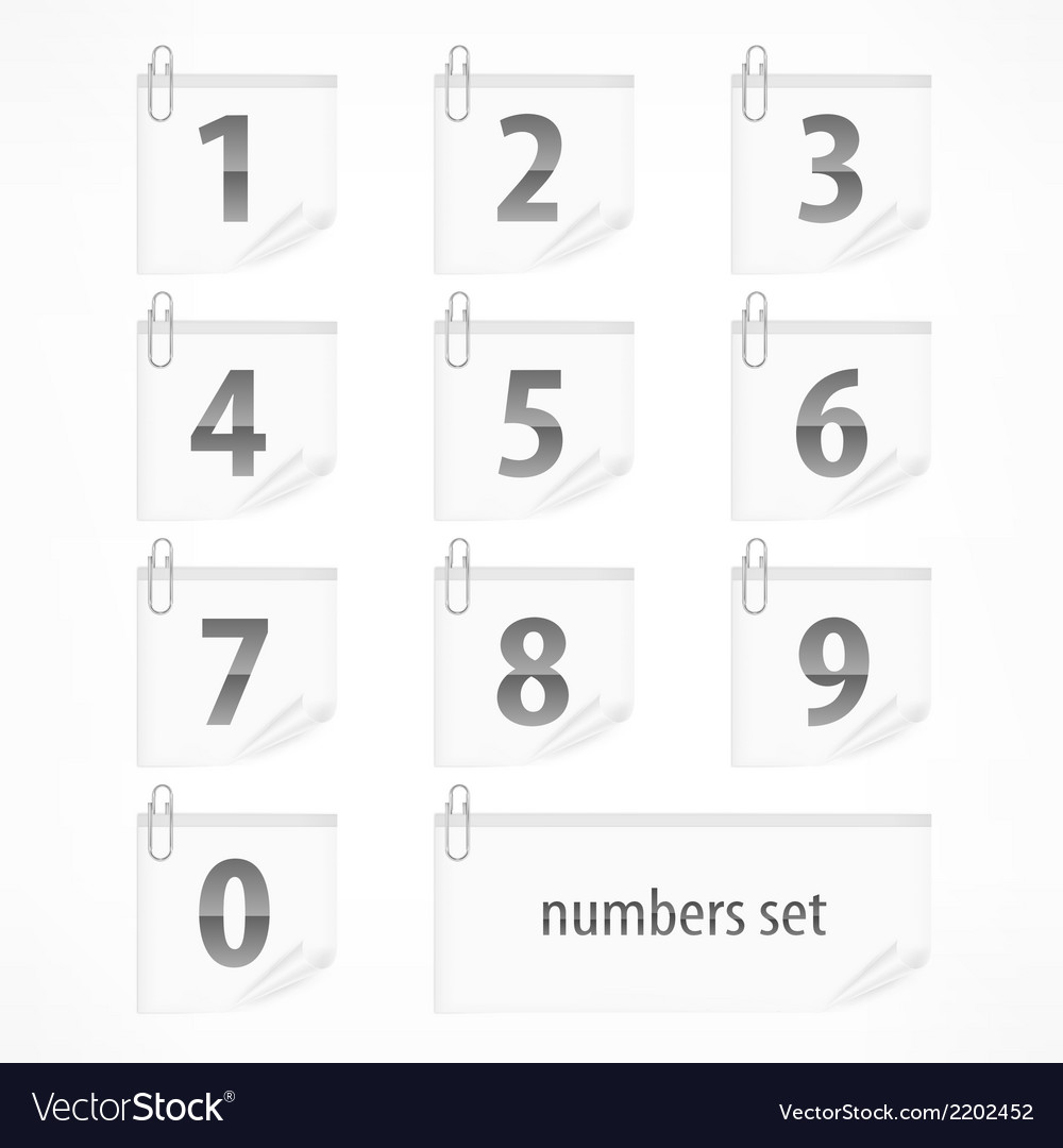 Set of numbers on paper vector | Price: 1 Credit (USD $1)