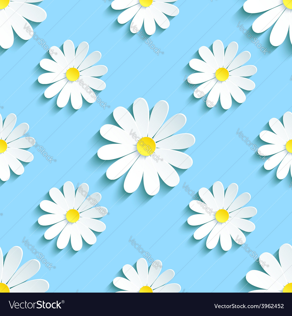 Spring blue background seamless pattern chamomile vector | Price: 1 Credit (USD $1)