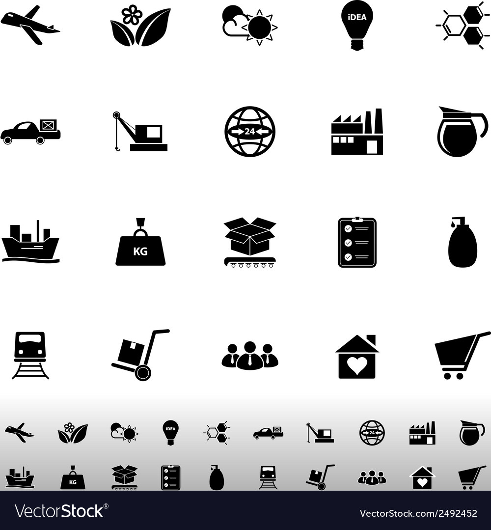 Supply chain and logistic icons on white vector | Price: 1 Credit (USD $1)