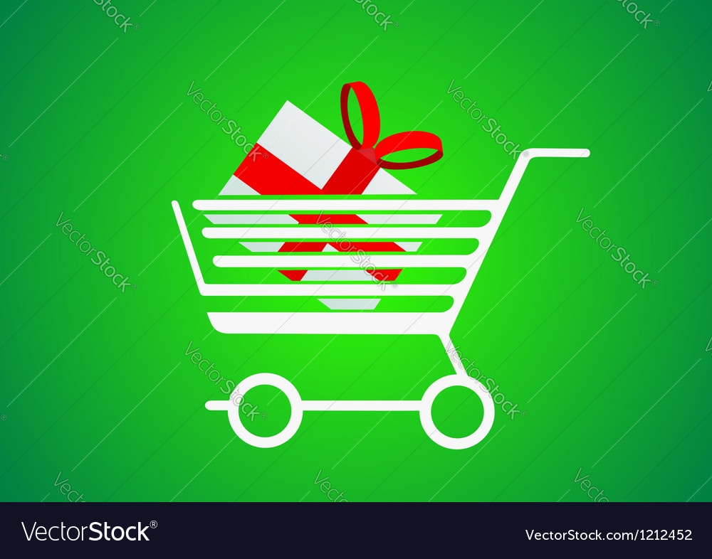 Trolley designed for shopping with a gift inside vector | Price: 1 Credit (USD $1)