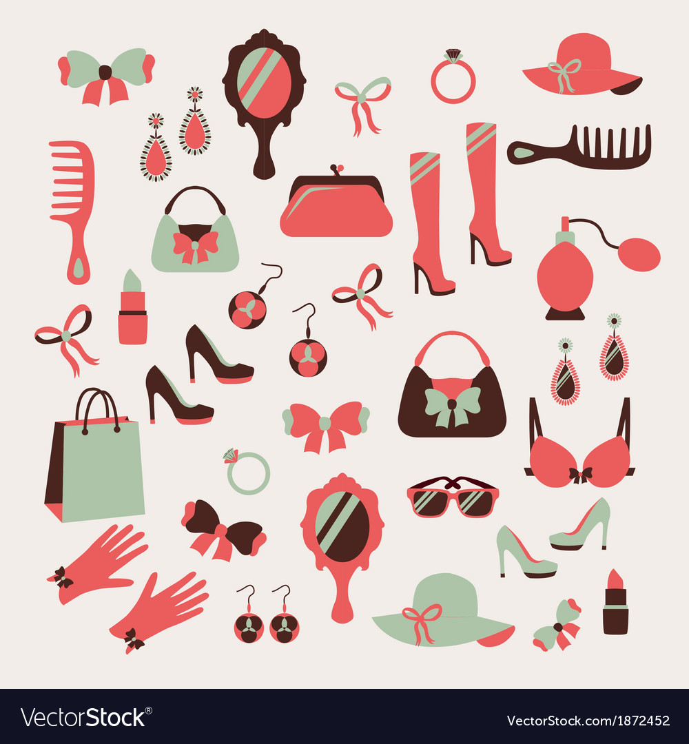Woman accessories icons set vector | Price: 1 Credit (USD $1)